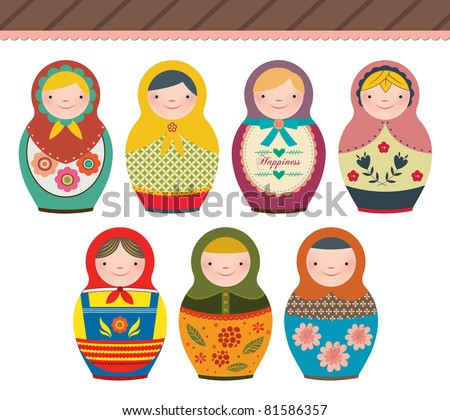 Russian Doll in retro style. Perfect for card design, fabric, scrapbook, album.