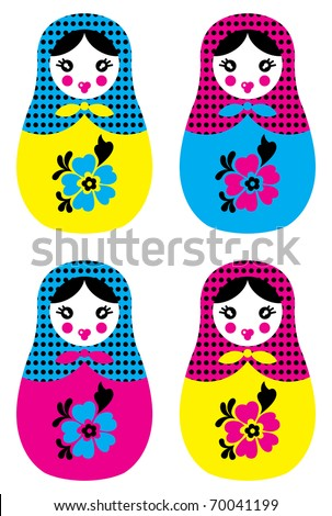 Russian doll matreshka - stock vector