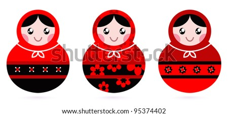 Russian doll set isolated on white ( black & red )