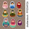 Russian dolls stickers - stock photo