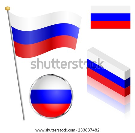 Russian Federation flag on a pole, badge and isometric designs vector illustration.  - stock vector