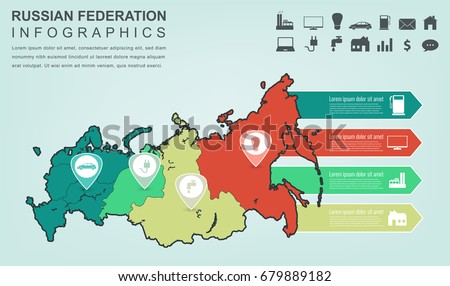 Russian Federation Map Infographic Elements Infographics Stock