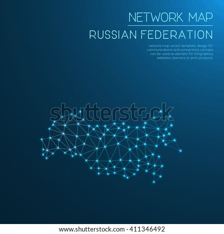 Russian Federation network map. Abstract polygonal map design. Internet connections vector illustration.