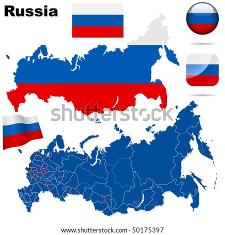 Russian Federation  vector set. Detailed country shape with region borders, flags and icons isolated on white background. - stock vector