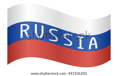 Russian flag with word Russia waving on white background - stock vector