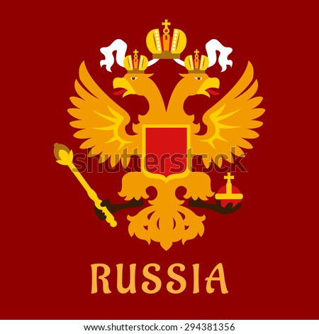 Russian flat doubleheaded imperial eagle in gold over a red background - stock vector