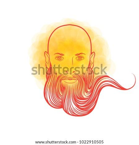 Russian Hero Man Beard Symbol Strength Stock Vector 1022910505