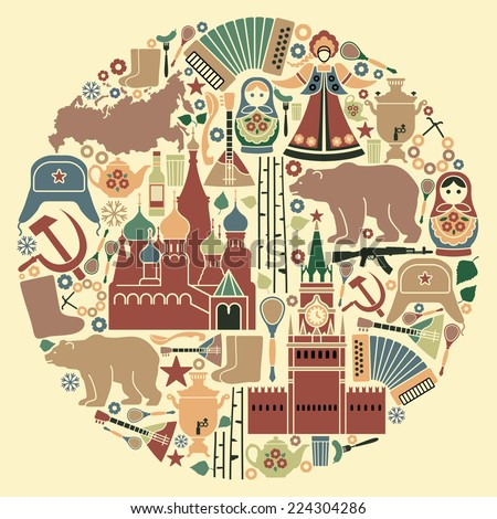 Russian icons in the form of a circle - stock vector