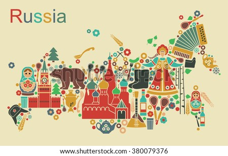 Russian icons in the form of maps of Russia - stock vector
