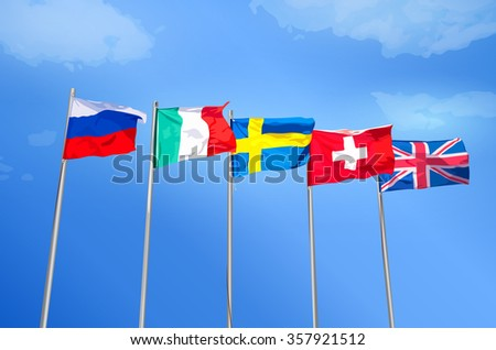 Russian, Italian, Swedish, Swiss, British flags together on blue sky background