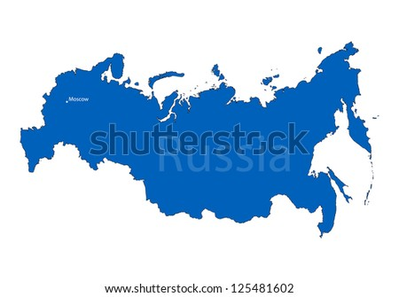 Russian map on white background - stock vector