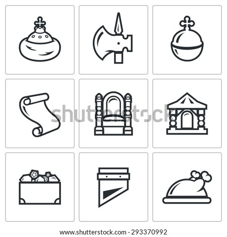 Russian Moscow ancient state and the Principality icons set. Vector Illustration. Isolated Flat Icons collection on a white background for design - stock vector