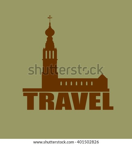 Russian orthodox church silhouette. Travel banner background.  Travel word