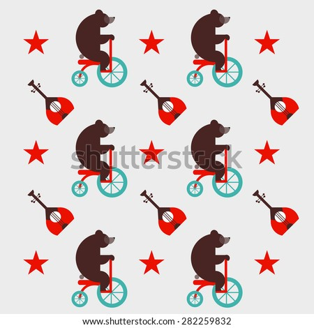 Russian pattern with bear and a balalaik, red star. Russian symbol. For t-shirt or other uses. Vector set of colorful traditional culture russian icons in flat style. Print. packaging paper - stock vector