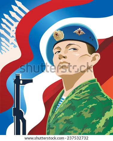 Russian soldier on the background of the Russian flag. - stock vector