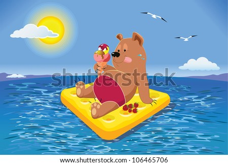Russian to rest. Happy Brown Bear resting on air mattress in the sea, eating ice cream. A warm sunny day - stock vector