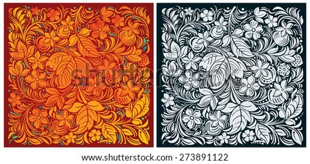 Russian traditional ornamental background color and monochrome - stock vector