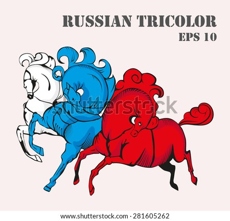 Russian tricolor horses vector illustration. - stock vector