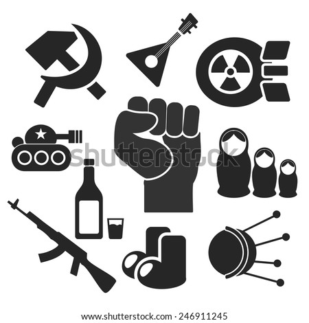 russian web and mobile logo icons collection isolated on white back vector symbols of fist