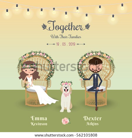 Rustic Bohemian Cartoon Couple Wedding Invitation Stock Vector 562101808