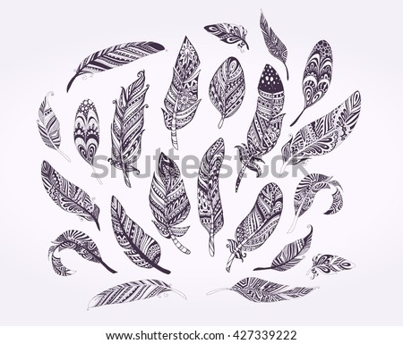 Rustic Ethnic decorative feathers. Hand drawn vintage vector design set. Black and white ink sketch illustration. Vintage Tribal and Decorative feathers. - stock vector