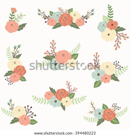 Rustic Flower Set Perfect For Card Invitation Greeting Wedding Mothers Day