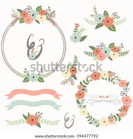 Rustic Flower Wreath Collection Set