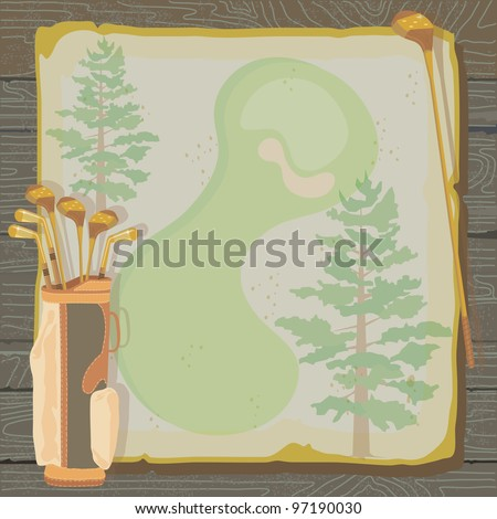 Rustic golf party or tournament invitation with a vintage aged feel. Golf bags with golf clubs on grungy vintage paper with faded pine trees, set against a wood background. - stock vector