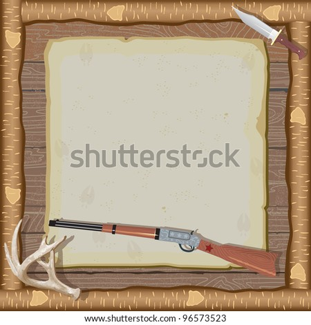 Rustic hunting party invitation with rifle, hunting knife, deer antlers and a faded deer illustration on old vintage paper with animal tracks set against a wood paneled background and log frame. - stock vector