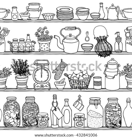 Rustic kitchen vector seamless pattern. Doodle cooking items background. Side view sketchy kitchen shelves with food and dishes. Set of hand-drawn kitchenware borders for design - stock vector