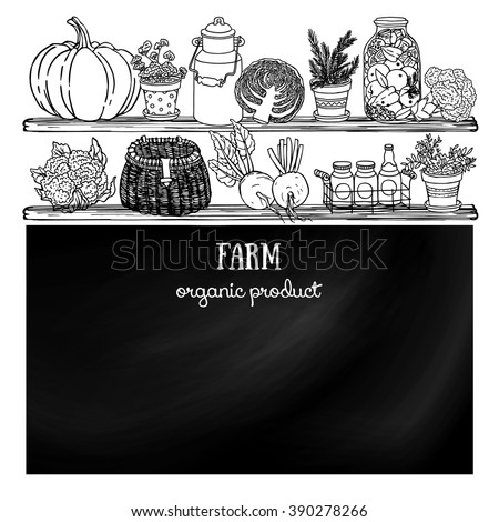 Rustic style kitchen sketchy blackboard. Side view kitchen shelves with food and dishes for design. Black and white doodle background - stock vector