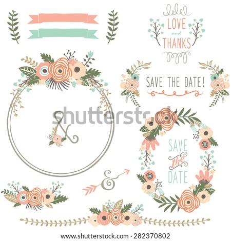Rustic Wedding Flower Wreath - stock vector