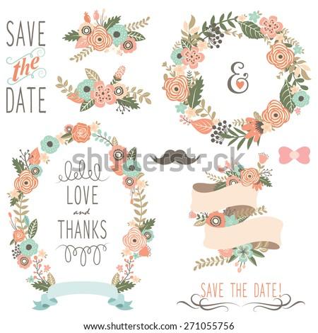 Rustic Wedding Flowers Wreath - stock vector