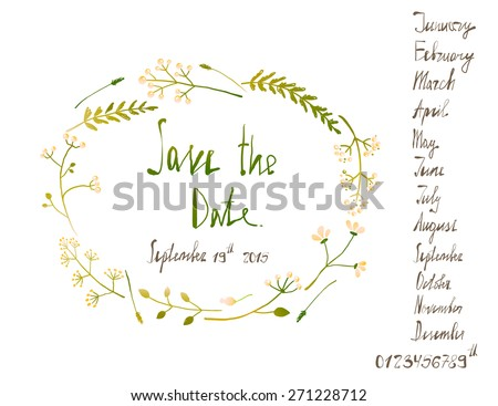 Rustic Wreath Save the Date Invitation Card with Inky Calligraphy on White. Country floral wedding card with written text illustration. Vector EPS10.  - stock vector