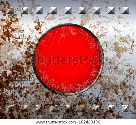 Rusty metal frame with red lamp and rivets - stock vector