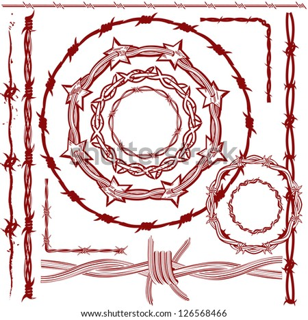 Rusty Red Barbed Wire - stock vector