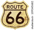 Rusty Route 66 - Vintage roadsign illustration full of rust and scratches - stock photo