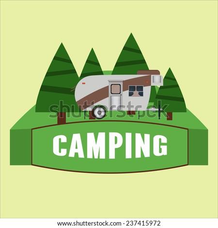 RV camping illustration. Vector illustration - stock vector