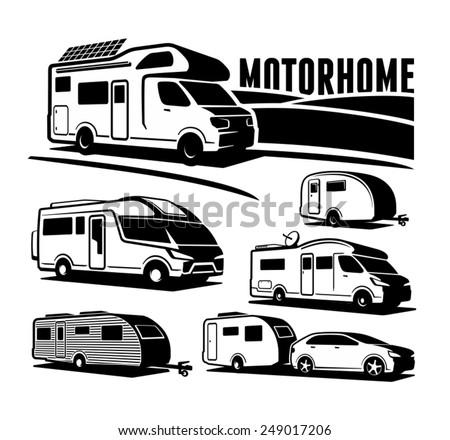 Rv cars Recreational Vehicles Camper Vans Caravans Vector Icons  - stock vector