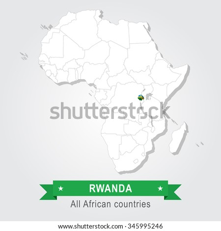 Rwanda. All the countries of Africa. Flag version. - stock vector