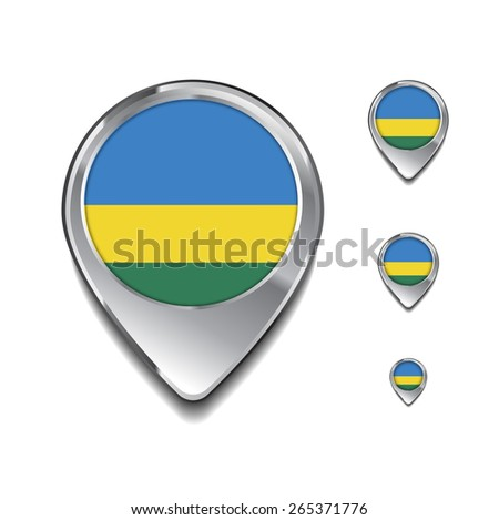 Rwanda flag map pointer. 3d Map Pointer with flag glossy button style on gray background - stock vector