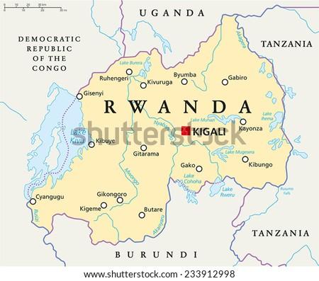 Rwanda Political Map Capital Kigali National Stock Vector - Rwanda map