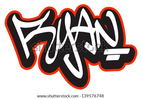 Ryan graffiti font style name hiphop stock vector 139576748 ryan graffiti font style name hip hop design template for t shirt thecheapjerseys Image collections