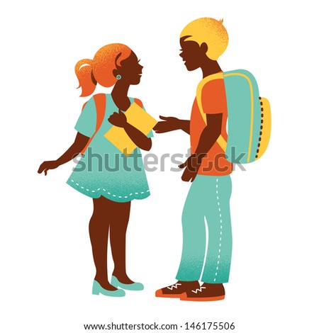 S?hool boy and girl. Vintage student silhouettes. Back to school illustration - stock vector