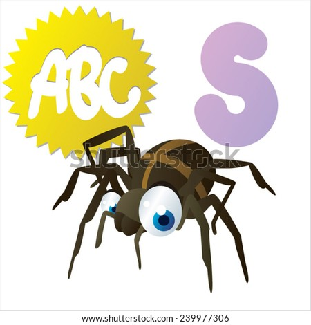 S is for vector cute cartoon isolated Spider - stock vector