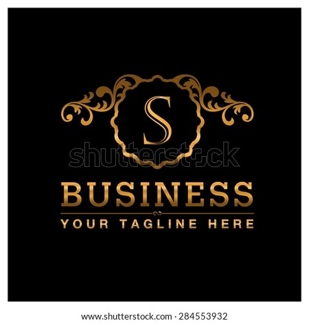 S letter Gold Luxury Logo template flourishes calligraphic elegant ornament lines. Business sign identity for Restaurant, Royalty, Cafe, Hotel, Heraldic, Jewelry, Fashion and other vector illustration