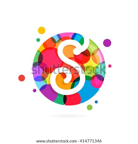 S letter logo in circle with rainbow dots. Font style, vector design template elements for your application or corporate identity. - stock vector