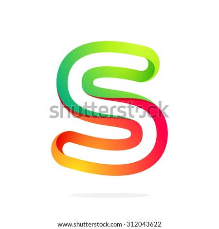 S letter one line colorful logo. Abstract trendy multicolored vector design template elements for your application or corporate identity. - stock vector