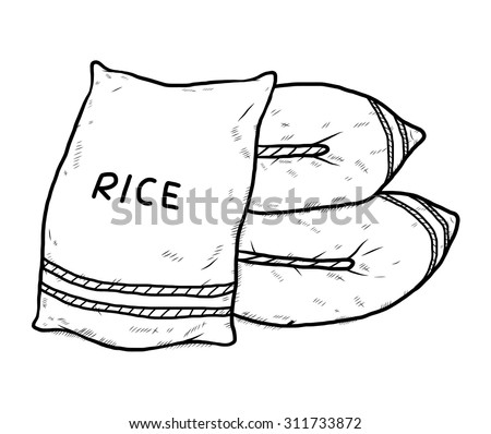 sac of rice / cartoon vector and illustration, black and white, hand drawn, sketch style, isolated on white background. - stock vector