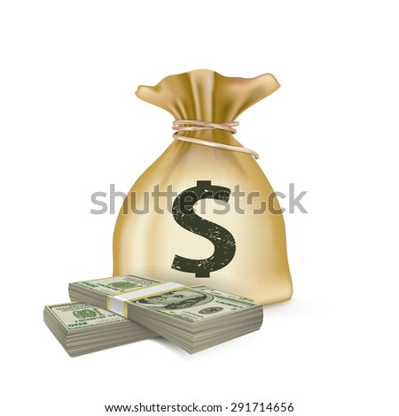 Sack and money, vector
